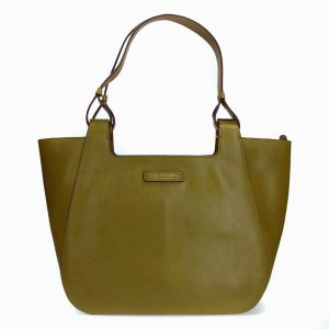 The Bridge Woman Bag Lucia Line Olive Green leather Zip closure 04315101-ER collection autumn winter 2021 made in Italy icon