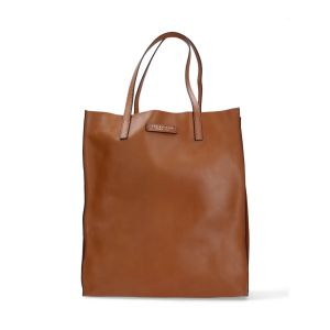 The Bridge Woman Shopper Bag Mirra Brown Cognac Soft leather 04330101-15