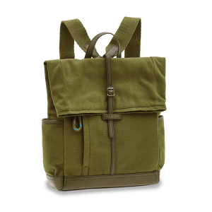 The Bridge Leonardo Backpack Fabric and Green Leather 0638110M-8O man woman icon autumn winter collection 2021