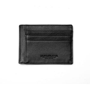 Spalding NEW YORK Credit Card Holder Pocket Black Leather RFID Protatction wallet man