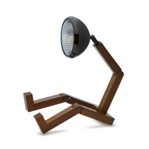 Mr Wattson LED wooden lamp Matt Black adaptable plug Office Desk Home Design Piffany man woman gift