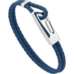 Montblanc Bracciale Small Pelle Blu e Acciaio con inserto in lacca blu
