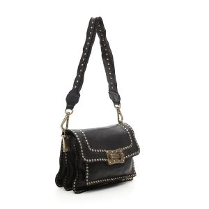 Campomaggi caterina Lucchi Woman Cross-body bag in black leather rivets-decorated edge C016500ND-X0007-C0001 autumn winter collection 2021 made in italy