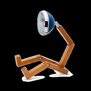 Mr Wattson LED wooden lamp Cobra Blue adaptable plug Office Desk Home Design man woman gift accessories desk