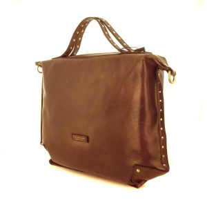 The Bridge Woman UNICA_WOW Slim Bag Brown Leather Studded 0404073