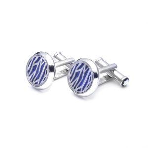Montblanc Gemelli Uomo Acciaio Pregiato e Lacca Blu 126100 elegante camicia dress code outfit accessori lusso mont Blanc