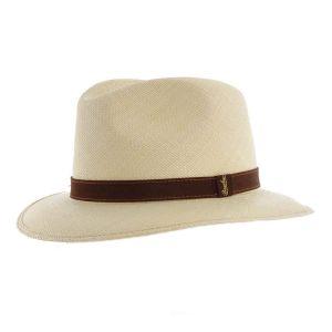 Borsalino Panama Fino Country Quito Band Brown Leather Medium brim Size 57