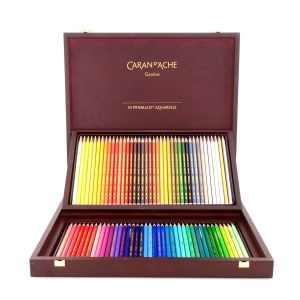 Caran D Ache Wood Box of 80 Colors PRISMALO Aquarelle