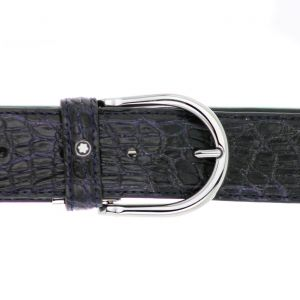 Montblanc Belt Round Shiny Pin Pall Buckle Blue Genuine Calman LT Aligator Strap
