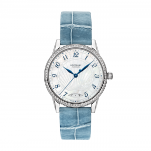 Montblanc Watch Bohème Steel Jewellery Collection White Mother of Pearl Blue Alligator Strap Automatic Date 34 mm mont blanc