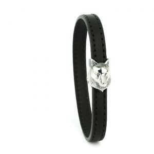 Montblanc Bracelet Black leather with sterling silver wolf head clasp Small 12379060 man woman luxury