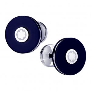 Montblanc Pix Cufflinks Round stainless steel Blue 123812 Man Mont Blanc Ivon Luxury
