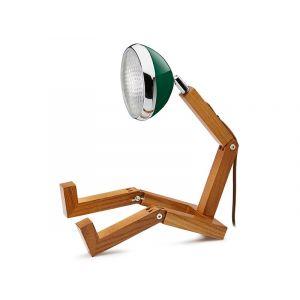 Mr Wattson LED wooden lamp Chiltren Green adaptable plug