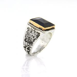 Progetto Fede Quadro Square Sapphire Root Men's Ring