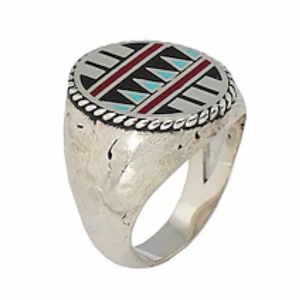 Andrea D'Amico Man Ring Silver 925 Navayo made in Italy XXXL Indian Stile Fortela