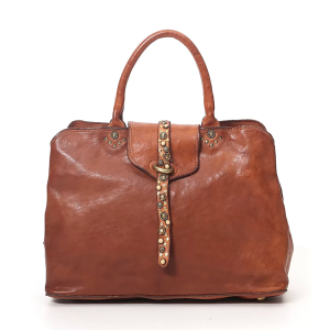 Campomaggi Shopper CEFALU' Bag Cognac Leather With Studs Made In Italy S / S 21