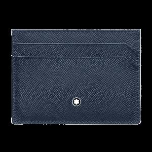 Montblanc Sartorial Porta carte di credito Portafoglio tascabile Pelle Blu 5 scomparti 128596 uomo donna accessori lusso eleganza praticità