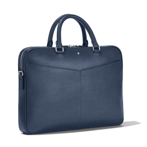 Montblanc Sartorial Bag Document Case Ultra Slim Blue Leather 128542 Business man woman Luxury