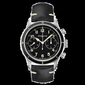 Montblanc Orologio 1858 Automatic Chronografo Nero Edizione Limitata 126915 cinturino pelle triplo deployant