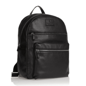 Spalding Medium Backpack VERMONT Black Leather Rice Grain Print elegance casual design man woman business