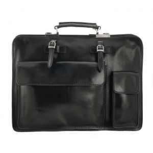 The Bridge Business Bag Talamone Leather Dark Ruthenium Opaque woman