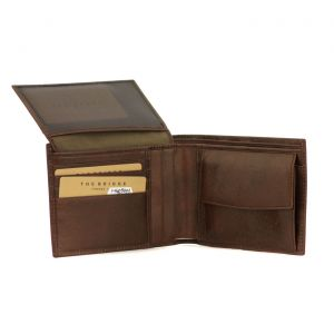 The Bridge Story Wallet Compartment checkbook 4cc coin case Brown Leather View Pocket