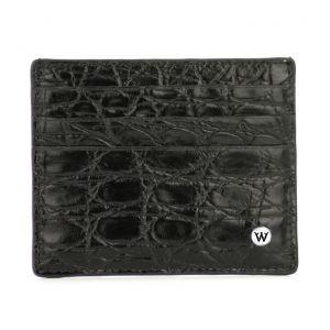 Wondersmall WILDSKIN Crocodile Leather Credit Card Holder 6 cc black