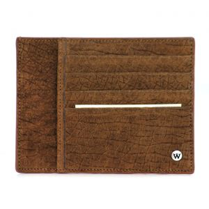 Wondersmall WILDSKIN Hippopotamus Leather Man Credit Card Holder 4 cc brown